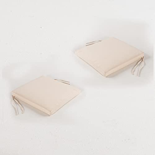 Edenjardi Pack 2 Cojines para sillas de jardín Color Beige | Tamaño 44x44x5 cm | Repelente al Agua | Desenfundable | Portes Gratis