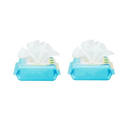 AMZYY Toallitas para Bebés Toallitas Desechables para Bebés 100% Sin Plástico Biodegradable Extra Gruesas Toallitas Húmedas Duraderas Sin Perfume Suave Ternura