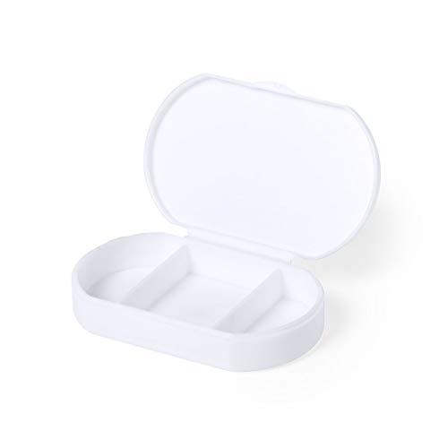 Pastillero Antibacterial Pequeño 3 Tomas- Práctico y Ligero - Caja para Medicamentos y Vitaminas con 3 Compartimentos - Ideal para Viajes y Uso Diario (Antibacteriano)