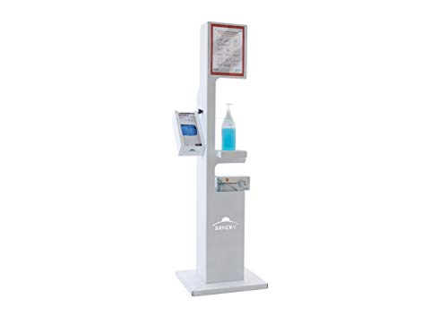 Columna para dispensador de gel desinfectante blanca Bracky, soporte para botella de gel, soporte para gel desinfectante. Indicado para la desinfección de las manos.