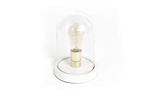 LIFA LIVING Lampe de table vintage avec dôme en verre et bois, lampe d'appoint avec culot E27 en acier, blanc/doré, 25 cm de hauteur