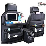 JAUTO Car Back Seat Organizer with Foldable Table Tray, PU Leather Car Back Seat Organizer for Kids Toy Bottles Storage with Foldable Dining Table Ipad Tablet Holder (Black with Table Tray 2PC)