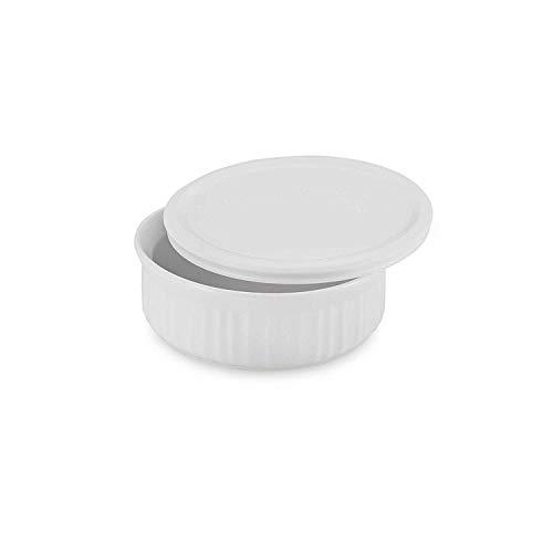 CorningWare French White 1-1/2-Quart Covered Round Dish with Plastic Lid