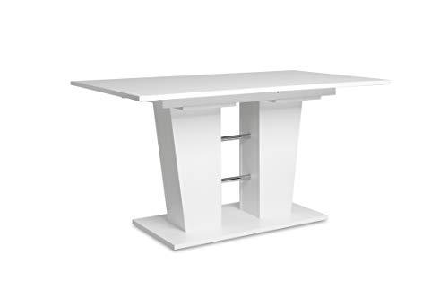 Auszugstisch - Esstisch mit Synchronauszug (B/H/T: 140-180 x 75 x 90 cm) weiß, 22 mm, ABS-Kante
