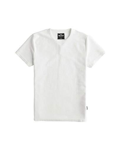 Hollister T-shirt à col rond côtelé pour homme - Blanc - Lar