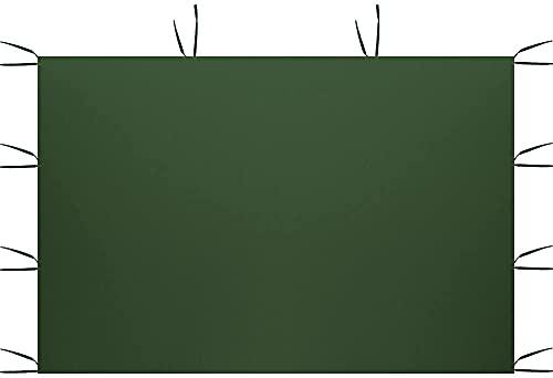3 x 2M Solo Panel Lateral Carpa Panel Lateral del Cenador de la Cortina 2 Paredes Laterales con Ventanas Tranparentes Protector Solar para Jardín, Playa, Fiesta (Verde, Sin Ventana)