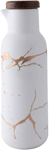 HAQTXI Botella del dispensador de Aceite de Oliva: Botella del dispensador de Aceite, Salsa de Soja o vinagre Cruet con Verter -Marble líquido de cerámica Condimento-380 ml (Color : White)