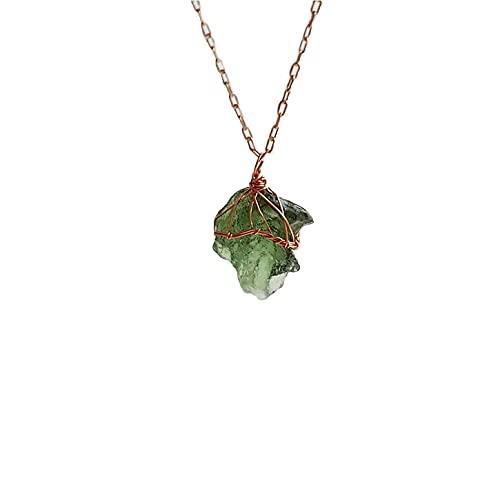 Top 2021 - Collar de Moldavita, joyería de Moldavita cruda, collar de Moldavita natural de Meteorito Alambre Envoltura de Piedra Verde de Moldavita Checa, Collar de Moldavita Crudo Joyería Moldavita