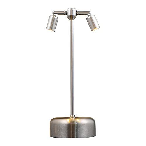 Lámpara De Mesa Escritorio 1pc 3600mAh bar DIRIGIÓ Lámpara de escritorio de carga Metal Tall Cabezas Doble Foco (Color : Silver Conical lamp)