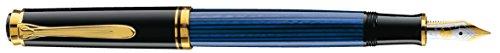 Pelikan 985895 Kolbenfüllhalter Souverän M 400 Bicolor-goldfeder 14-K/585 Federbreite M, 1 Stück, schwarz/blau