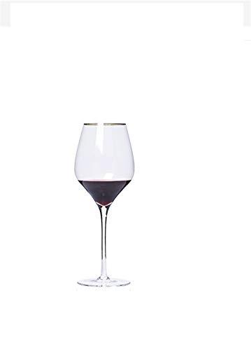 WENYOG Copas De Vino 2 Tipos de Capacidad 450ml 650 ml Copa de Vino Tinto de Vino de Oro Barería de Bodega Home Borgoña Vino Copa de Vino Vidrio Set 08 (Capacity : 601 700ml, Color : Clear)