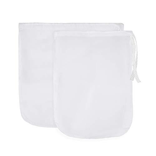 MICGEEK Bolsa de tuercas de 2 piezas Bolsas reutilizables de tela filtrante de malla de nylon resistente para alimentos para avena, café, vino, té, queso y bebidas