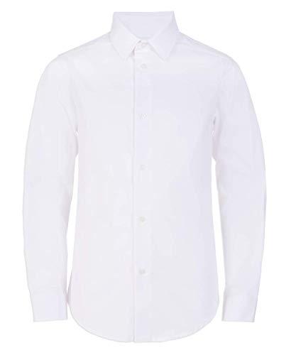 Calvin Klein Boys' Big Long Sleeve Slim Fit Button-Down Dress Shirt, White, 12