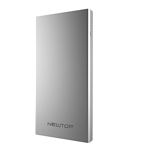 N NEWTOP PB05 Power Bank aluminio doble carga USB cargador portátil universal 4000 mAh para avión equipaje de mano USB batería externa para móviles Smartphone (plata)