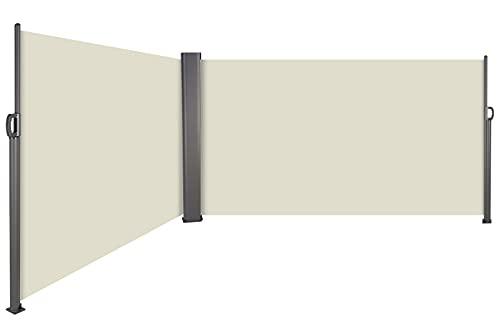 Toldo Lateral Retráctil, Toldo Completo de Aluminio, Toldo Portátil, Protección Solar, Extensible para Balcón, Jardín, Terraza, Protección de la Privacidad, 600 X180 cm, Doble Cara, Beige