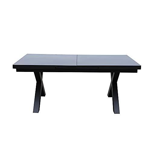 Red Deco - Mesa de jardín extensible para 10 personas, aluminio gris y tablero de cristal negro