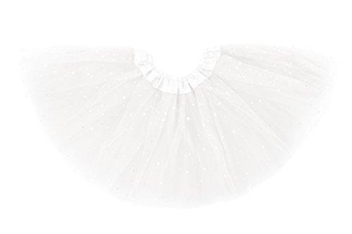 Tutus de brilho Dancina para meninas (6 meses a 13 anos), White Glitter, 8-13 years