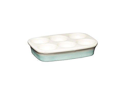Kitchen Craft Apple Farm Porte-Oeuf en céramique de Style Vintage Crème/Vert 15,5 x 11 cm