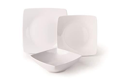 Excelsa Quadro Service d'assiettes 18 pièces, céramique, blanc