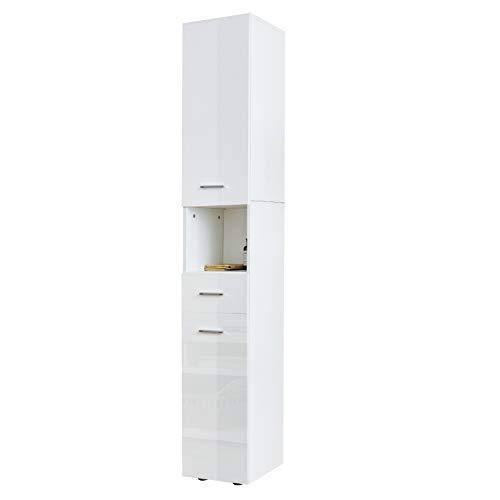 YOLEO Badezimmerschrank Hochglanz, weiß Badschrank schmal Badregal mit 5 Fächer 2 Türen und 1 Schublade 180 x 31 x 30 cm Holz hoch