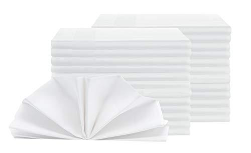 ZOLLNER 25er-Set Damast Stoffservietten, Baumwolle, 50x50 cm, Atlaskante, weiß