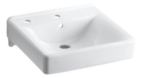 KOHLER K-2084-L-0 Soho Wall-Mount Bathroom Sink with Single-Hole Faucet Drilling and Left-Hand Soap/Lotion Dispenser Drilling, White