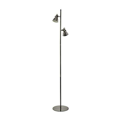 EGLO Stehlampe Taschin, 2 flammige Stehleuchte Industrial, Modern, Klassisch, Standleuchte aus Stahl, Wohnzimmerlampe in Nickel-Antik, Creme, Lampe mit Tritt-Schalter, GU10 Fassung