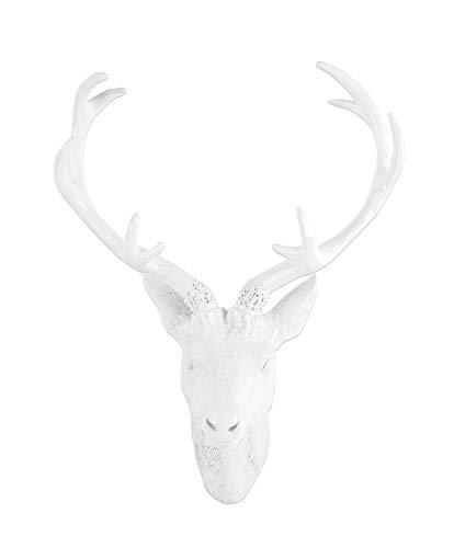 BigDean Großes Hirschgeweih 42 cm - Wand-Deko in Geweih-Optik - Weiß Hochglanz - Hirschkopf für Jagdzimmer - Aus Polyresin für Innen & Außen
