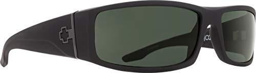 Spy Optic Cooper Rectangular Sunglasses, Soft Matte Black/Happy Gray/Green, 56 mm
