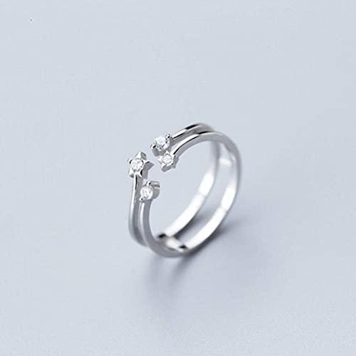BEWITCHYU Anillo de Plata S925, Joyería de Oreja de Diamante Doble Abierta de Moda para Mujeranillo de plata s925, Apertura regulable