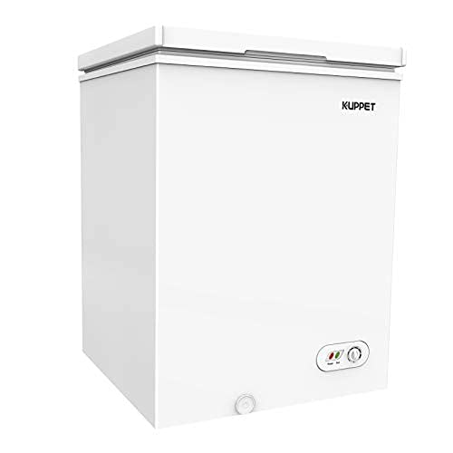 Compact Chest Freezer, with Flip-up Lid, with Removable Basket, Adjustable thermostat, 7 Temperature Setting, for Apartment, Garage, Restaurant (3.5 Cu Ft,White)
