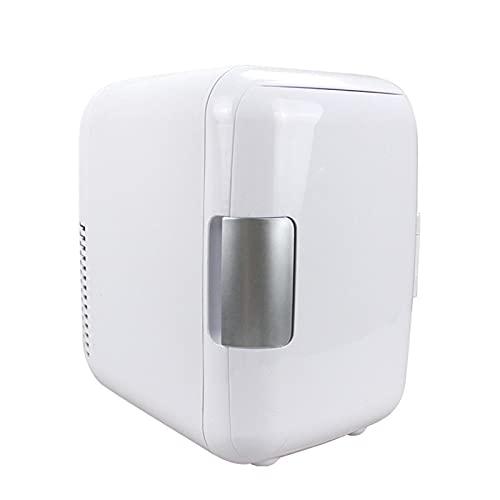 Refrigerador para automóvil Mini refrigerador Refrigerador de doble propósito de 4 litros Compacto, portátil y silencioso Refrigerador y calentador de automóvil compatible con CA + CC white