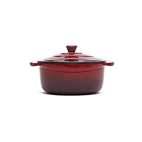 SS&LL 1QT Enamel Cast Iron Dutch Oven,Baby Milk Pan Mini Butter Warmer Bread Baking Pot Nonstick Slow Cook,Non Toxic APEO PFOA Cookware-Red 20.5x11.5cm(8x5inch)
