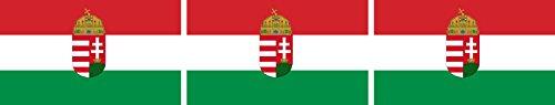 Etaia 2,5x4 cm - 3X Mini Aufkleber Fahne/Flagge von Ungarn Wappen Hungary kleine Sticker Auto Fahrrad Motorrad Bike Europa Länder