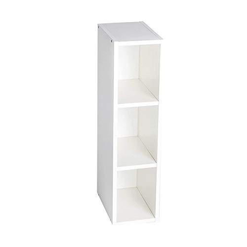 Puckdaddy Stauraumregal Max – 19x30x97 cm, Stand-Regal aus Holz in Weiß passend zu IKEA Malm Kommoden, Fächerregal für Wickelkommoden, Wickeltisch-Regal zur Kinderzimmer-Aufbewahrung