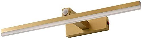 Luz de espejo de baño moderna con sensor de movimiento Lámpara de maquillaje de mesa LED con interruptor Aplique de pared de metal interior impermeable para dormitorio Sala de estar Hotel Golden, 73C