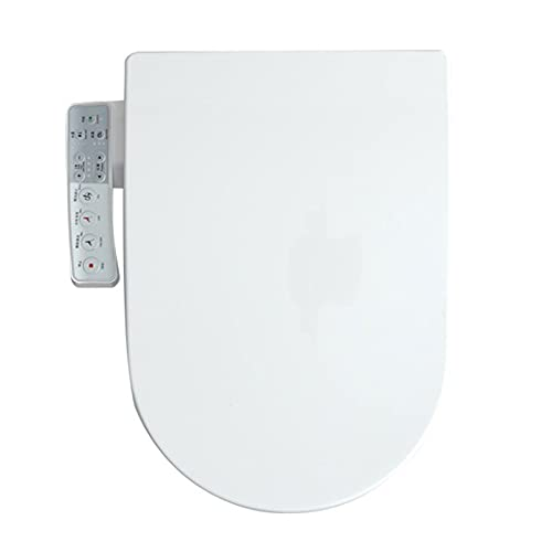 Electric Heated Bidet Smart Toilet Seat, Unlimited Warm Water, Self Cleaning, Heated Seat, Elongated, Wireless Remote Control, Convenient Nightlight, Oscillating Wash,U Shaped Remote Control