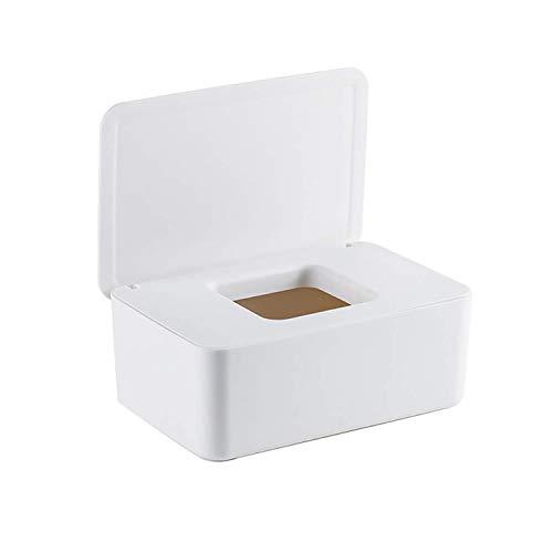 Dispensador de Toallitas Húmedas, 18,5 x 12,2 x 7 cm Caja para Toallitas Húmedas, Caja de Almacenamiento de Pañuelos a Prueba de Polvo para Oficina en Casa (Blanco)