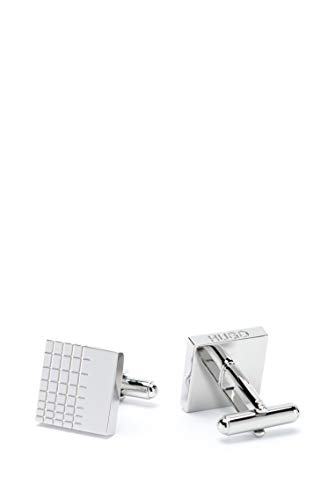 HUGO Herren Manschettenknöpfe E-Windowpane Grau OneSize