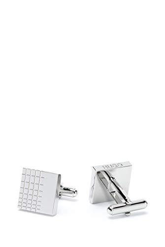 HUGO Herren E-Windowpane Manschettenknöpfe aus poliertem Messing mit Gittergravur