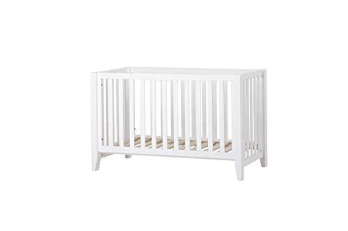 Hoppekids Nordische Ecolabel Qualität Babybett, Kinderbett 60x120, Kiefer massiv, umbaubar zur Sitzbank, Holz, White, 129 x 69 x 81 cm