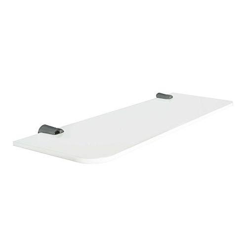 Wand montiert Weiß Acryl flache Regal abgerundeten Ecken (DS7+ W) 100mm x 300mm weiß