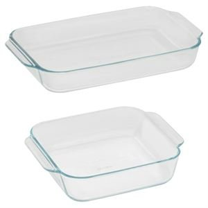 Pyrex Basics Clear Glass Baking Dishes 3 Quart Oblong and 2 Quart Square