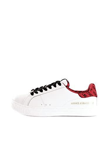 VERSACE JEANS COUTURE E0YWASK3 Sneakers Basket in Pelle Bianca con Dettaglio Lettering Rosso (Numeric_43)