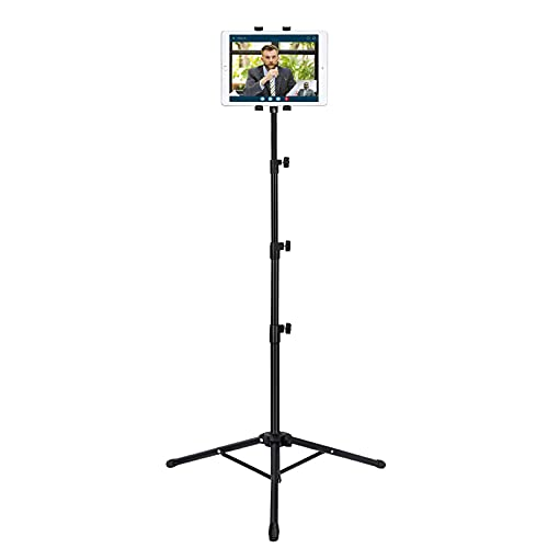 IPad Tripod Stand, Raking Foldable Floor Height Adjustable Tablet Tripod Stand for iPad Mini 1,2,3, iPad Air, iPad 2,3,4,5,6 and Most 7 -10 Inch Tablets, Carrying Bag and Flashlight as Gift