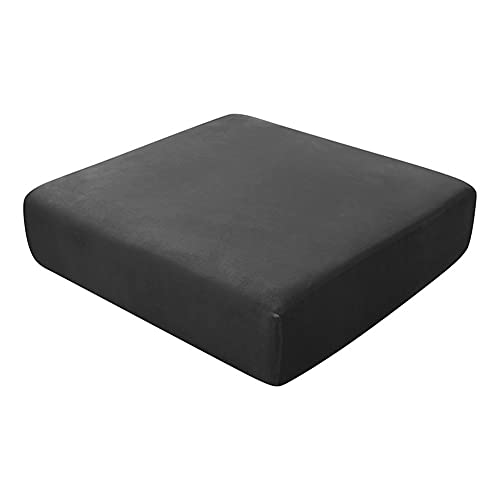 Sofa Seat Cushion Covers, Sofa Cushion Slipcovers Stretch Velvet, Couch Cushion Covers Replacement for Individual Cushion (Black,2-Seater)