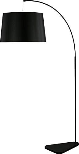 Bogenlampe Schwarz Metall Textil Stehleuchte 179cm Modern außergewöhnlich MAJA Beleuchtung Wohnzimmer