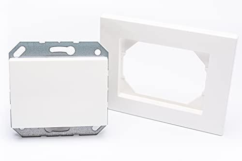 Interruptor de luz empotrado con iluminación, incluye marco, dimensiones 103 mm x 81 mm