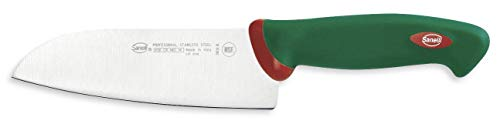 Sanelli Premana Professional Coltello Santoku, Acciaio Inossidabile, Verde/Rosso, 29.0x3.0x5.5 cm