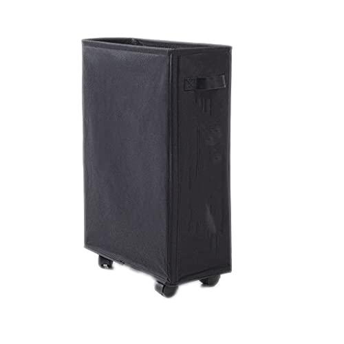 Cesta de lavandería independiente con ruedas, portátil, plegable, impermeable, para el hogar, baño, sala de estar, dormitorio, cesta de lavandería plegable (color negro)